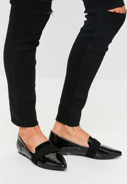 Black Patent Pointed Loafers