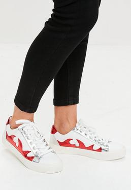 White Flame Print Sneakers