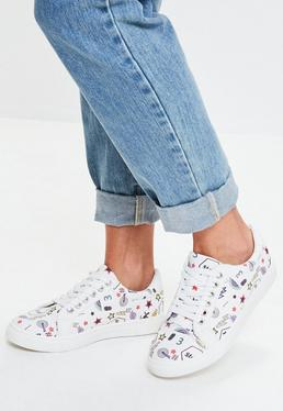 White All Over Comic Print Sneakers