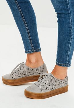 Gray Laser Cut Platform Sneakers