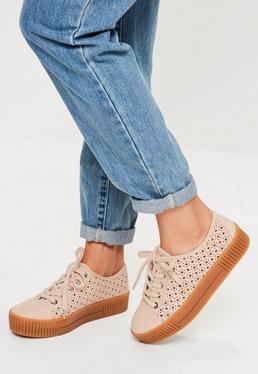 Pink Laser Cut Flatform Sneakers