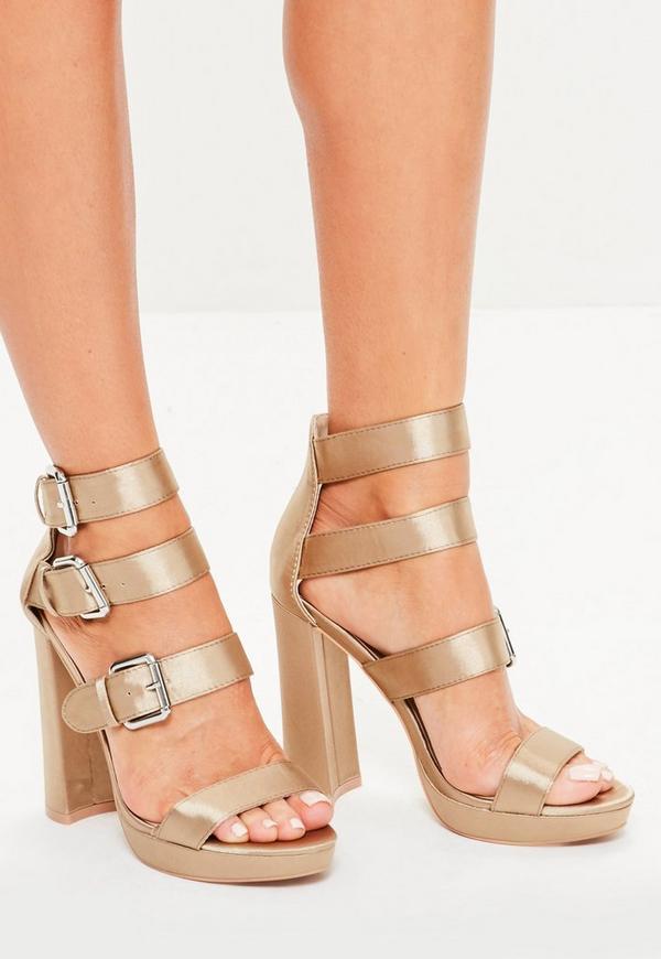 Gold Multi Buckle Satin Platform Sandals
