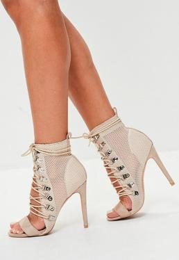 Nude Mesh Lace Up Heeled Sandals