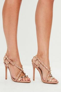 Nude Pyramid Cross Strap Heeled Sandals