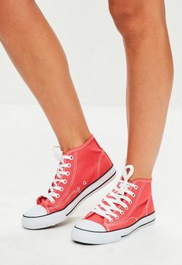 Zapatillas deportivas altas con cordones en rojo