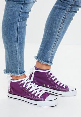 Purple High Top Canvas Trainers