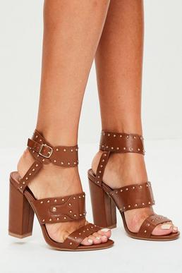 Tan Multi Strap Studded Block Heels