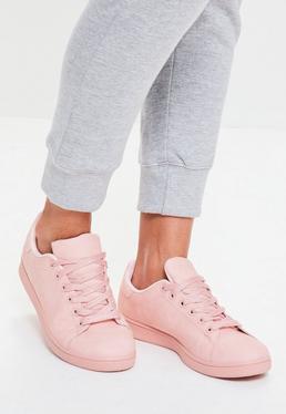 Zapatillas deportivas con cordones en rosa