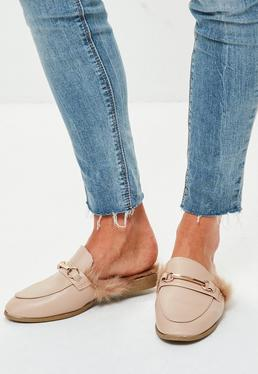 Nude Faux Fur Lined Slip On Mules