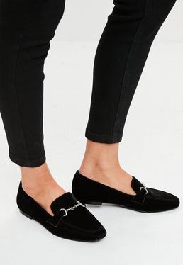 Mocasines de terciopelo en negro