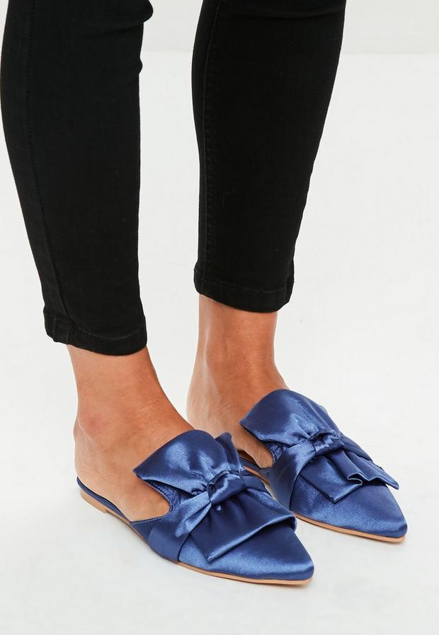 Missguided - Blue Satin Bow Detail Pointed Mules, Blue - 1