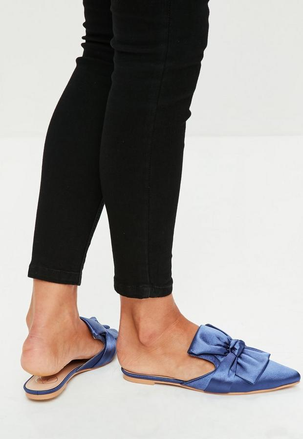 Missguided - Blue Satin Bow Detail Pointed Mules, Blue - 3