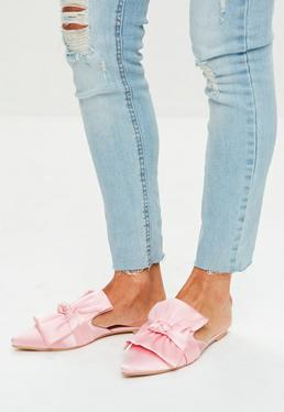 Pink Satin Bow Detail Pointed Mules
