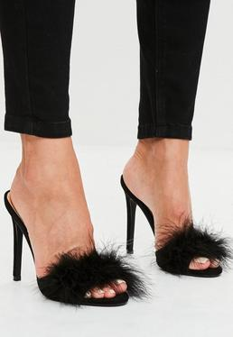 Black Feather Heeled Mules
