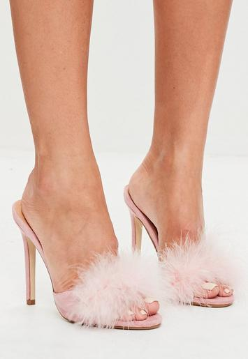 Pink Feather Heeled Mules Missguided