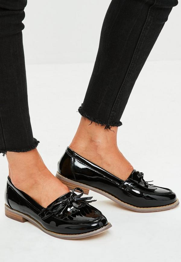 Black Patent Bow Detail Loafers