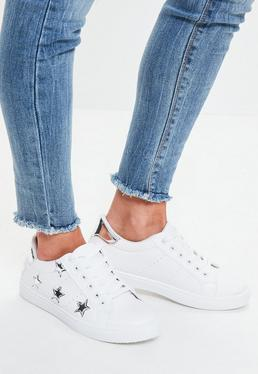 White Silver Star Lace Up Trainers