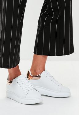 White Flatform Lace Up Sneakers