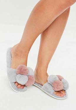 Grey Pom Pom Slippers