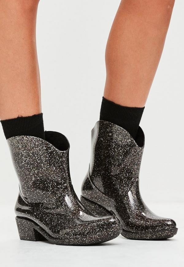 Black Glitter Effect Western Wellies