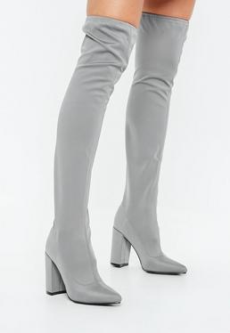 Szare neoprenowe buty kozaki za kolano