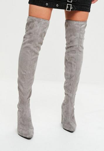 Grey Faux Suede Pointed Over The Knee Boots | Missguided