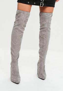 Grey Faux Suede Pointed Over The Knee Boots