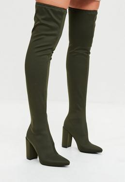 Khaki Pointed Knee High Neoprene Boots