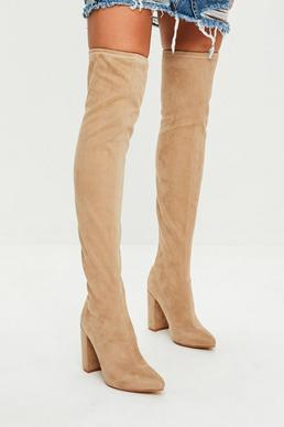 Nude Pointed Faux Suede Over The Knee Boots