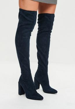Navy Pointed Faux Suede Over The Knee Boots