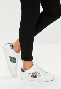 White Bee Embroidered Lace Up Sneakers