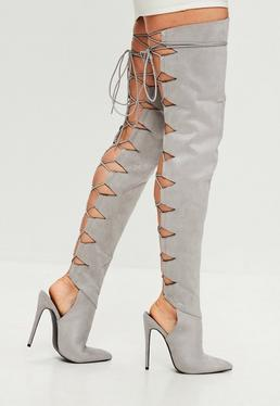 Peace + Love Grey Lace Up Back Heeled Boot