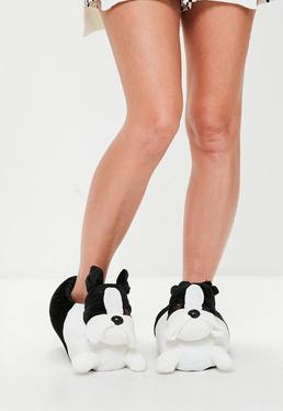 White French Bulldog Slippers