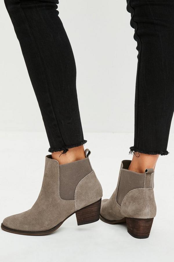 braune western ankle boots aus wildleder missguided. Black Bedroom Furniture Sets. Home Design Ideas