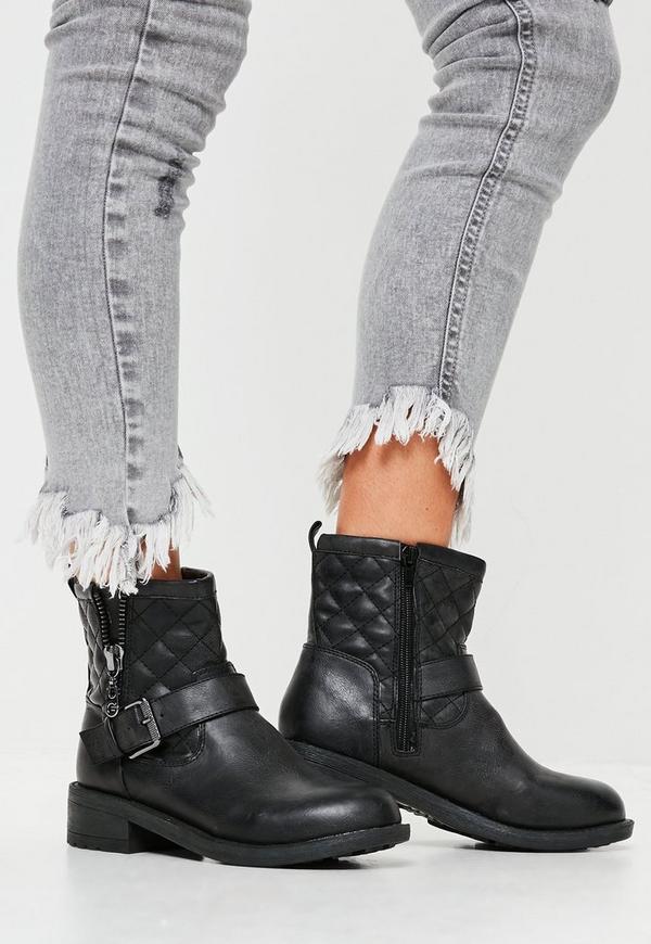 Black Buckle Zip Biker Boots