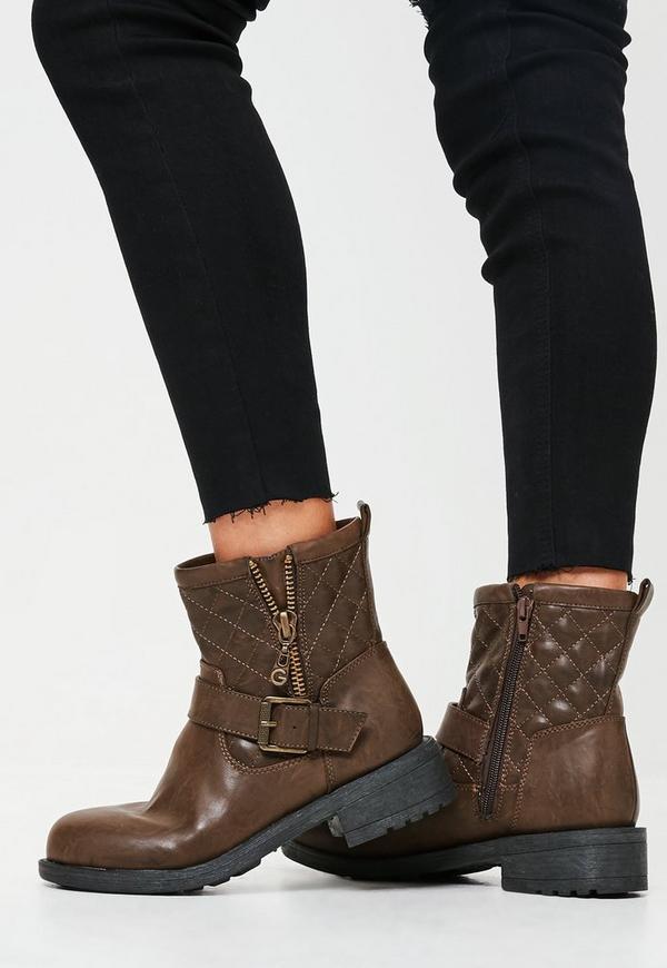 Brown Buckle Zip Biker Boots