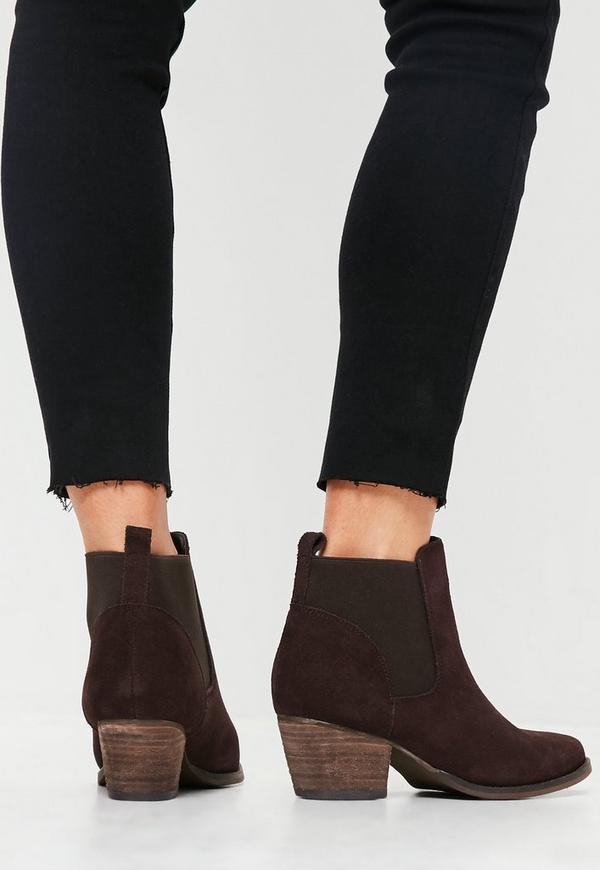 western ankle boots in wildleder optik in braun missguided. Black Bedroom Furniture Sets. Home Design Ideas