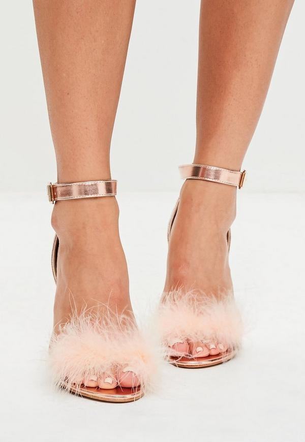 Rose Gold Feather Strap Barley There Heels