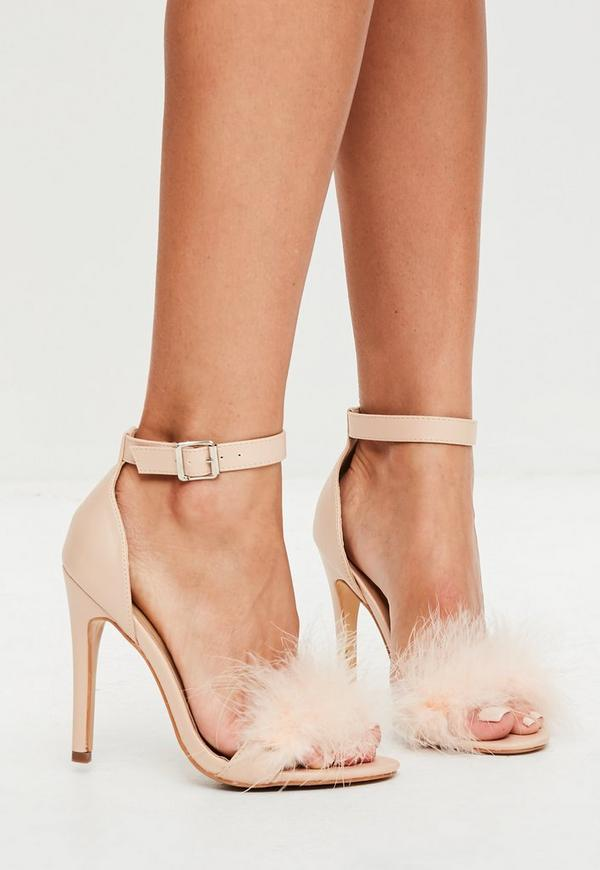 Nude Feather Strap Barely There Heels
