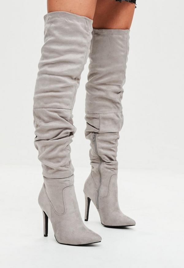Grey Faux Suede Over The Knee Ruched Boots