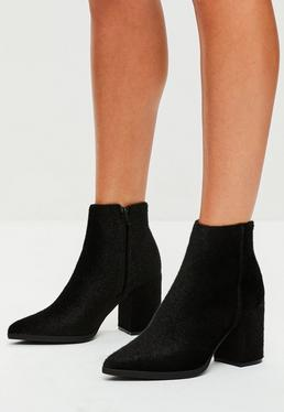 Black Faux Pony Hair Ankle Boots
