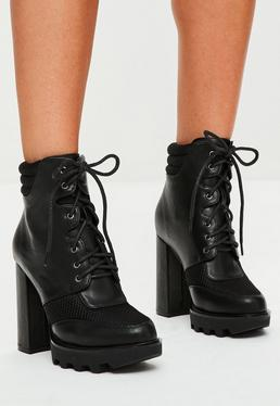Black Lace Up Heeled Biker Boots