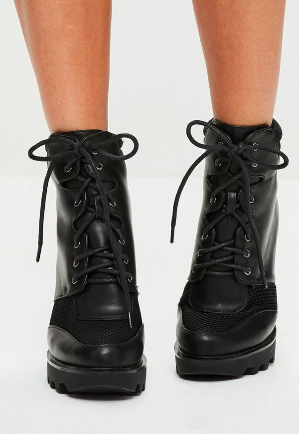 black lace up heeled biker boots missguided