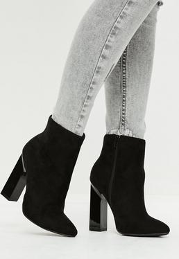 Black Faux Suede Geometric Heel Boots