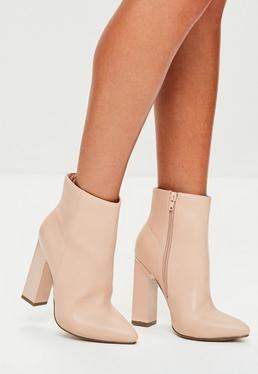 Nude Feature Heel Pointed Boots