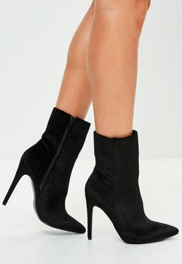 Black Stiletto Heel Pointed Ankle Boots