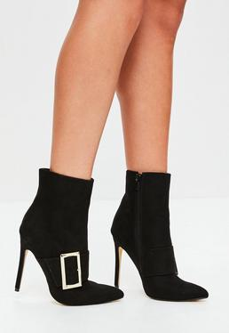 Black Oversized Buckle Ankle Boots