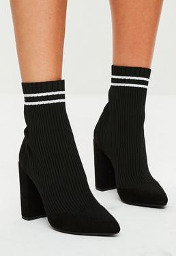Black Knitted Stripe Pointed Ankle Boots