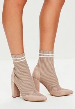 Nude Knitted Stripe Pointed Ankle Boots