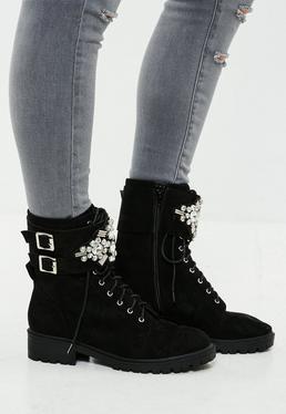 Black Embellished Buckle Cuff Biker Boots